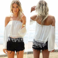 Sexy-Summer-Style-Fashion-Women-Boho-Tee-Off-Shoulder-T-shirt-Casual-Top-Blouse