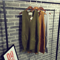 Knitting sweater vest Army green