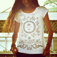 HEY SUNSHINE woman t-shirt spiritual new age yoga trance zen tshirt spirit shirt sun tee 2013 S M L XL