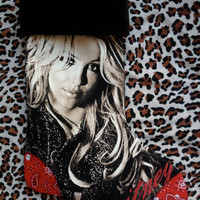 BRITNEY SPEARS - Upcycled Rock Band T-shirt Christmas Stocking - OOAk