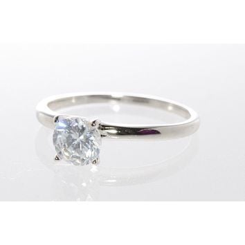 Solitaire Cubic Zirconia Engagement Ring Sterling Silver 6mm CZ