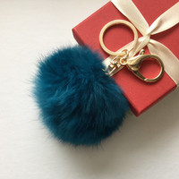 Cute Genuine Leather Rabbit fur pompon keychain for car key ring Bag Pendant lucky trinket deep blue