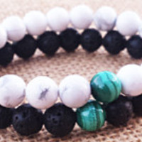 MALACHITE Couples Bracelet Travel Protection Stone Matching  Stacks Father and Daughter Bracelet Mother And Son Bracelet Couples Gifts