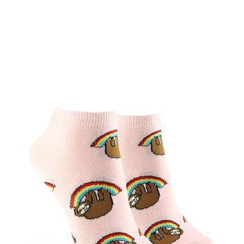 Rainbow Sloth Graphic Ankle Socks