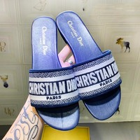 DIOR New fashion letter print slippers shoes women Blue
