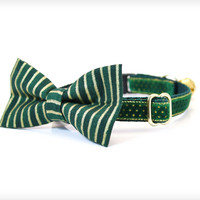 "Bow Tie Cat Collar Set - ""Evergreen"" - Emerald Green Velvet Collar + Matching Striped Detachable Bow Tie"