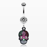 zzz-Vibrant Mayan Tribal Skull Belly Ring