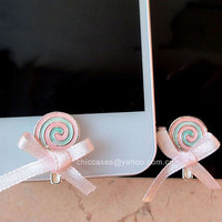 Bling home button sticker for iphone -- phone charm for iphone pink lollipop