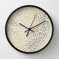 Gold Berry Branches Wall Clock by Cat Coquillette