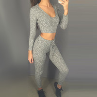 Two Piece Set Tracksuit Women Short Sexy Hooded Fashion Girls Two Pieces Deep V Neck Slim Casual Top Pants Oversuit Set S/M/L/XL