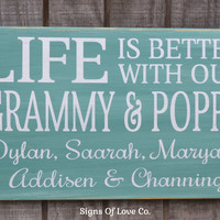 Custom Grandparents Gift Personalized Grandma Grandpa Kids Children Names Family Name Sign Life Is Better At Wall Art Home Gift Decor Quote Sayings Wood Plaque