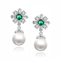 Cross W. Shell Pearl and Green Baguette and Round Cubic Zirconia Earrings