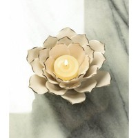 White Lotus Tea Light Candle Holder