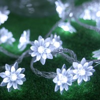 Bright 10M 50 LED Lotus Flower lamps String Fairy lights for Indoor and Outdoor Wedding Christmas party Garland Patio Decoration
