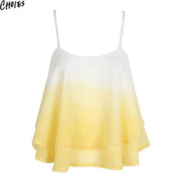 Women 3 Colors Cross Back Layered Ruffle Faded Sexy Chiffon Cami Loose Tops 2016 Summer New Fashion Casual Slim Backless Top