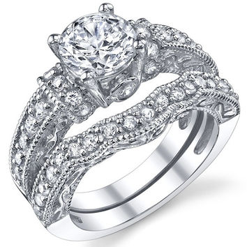 1.25 Carat Solid Sterling Silver Wedding Engagement Ring Set, Bridal Ring, with Cubic Zirconia = 1933197956
