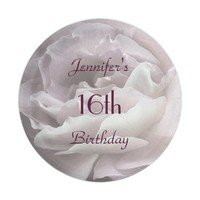 Pale Pink Rose Paper Plates, 16th Birthday Party Paper Plate