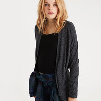 AE Plush Lace-Up Cuff Open Cardigan, Charcoal
