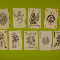 Vintage Joker playing cards. 9 Joker card collection, trump cards, clowns, jesters, Black and white, Man cave decor, Bar decoration.