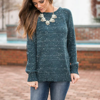 Dots Galore Sweater, Teal