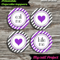 """Eat Me...Bite Me...Heart - Cupcake toppers - Dark Orchid & Grey - Instant Download - Party printable - Party favor - Candy Bar - 5 cm / 2"""""""