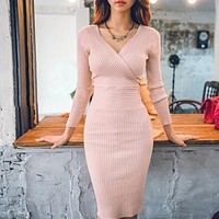 Autumn Women Knitted Cotton Skinny Sweater Dresses V-neck Casual Slim Hip Packaged Soft Dress Pink Vestidos Female