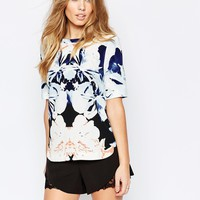 YAS Orchid Top in Abstract Floral Print at asos.com