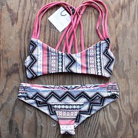 Khongboon Swimwear - Centre Reversible Criss Cross Full Cut Handmade Bikini