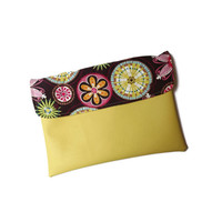 Yellow vegan clutch with carnival bloom, vegan ipad case, ipad cover