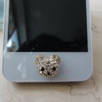 Bling iPhone home button sticker for Apple iPhone, iPad, Cell Phone Charm -- diamond bear
