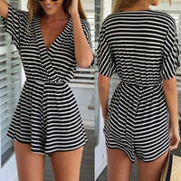 Black Striped V-Neck Romper