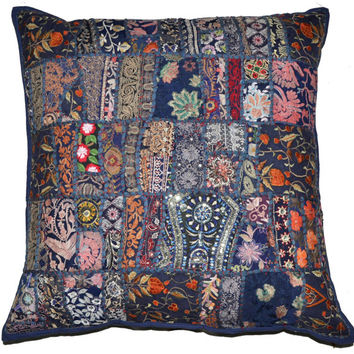 """24"""" XL Blue DecorativeThrow pillow, Indian Vintage patchwork sari couch pillow, Embroidered Tribal Cushion Cover Outdoor Cottage Pillow"""