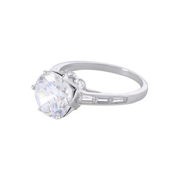 Women's Clear CZ Ring 4ct .925 Sterling Silver Round