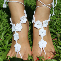 Handmade Knitting Patchwork Hollow Out Lace Anklet Bracelet Crochet Barefoot Sandals Foot Jewelry Accessory Gift-19