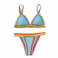Blue Contrast Crochet Trims Triangle Bikini Top And Bottom