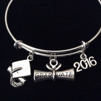 Diploma Graduation Cap 2016 Expandable Silver Charm Bangle Bracelet Trendy Gift