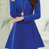 Blue Long Sleeve Skater Dress