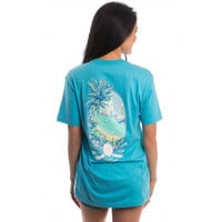 Lauren James Tee - Tropical Timeout - Pacific Blue