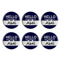 Abel Hello My Name Is Plastic Resin Button Set of 6