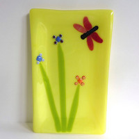 Yellow Fused Glass Platter with Dragonfly and Flowers