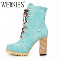WETKISS Rivets Punk Style Gladiator Boots for Women Lace Up High Spike Heels Boots Ankle Boots Thick Heels Martin Boots Woman