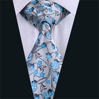 Mens Tie Gray Floral NeckTie Silk Jacquard Ties For Men Business Wedding Party