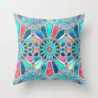Iridescent Watercolor Brights on White Throw Pillow by Micklyn