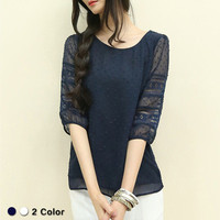Women Chiffon Lace Loose Slim Quarter Sleeve Top T-Shirt _ 11237