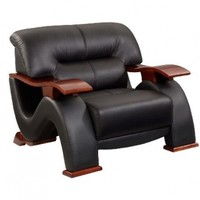 Global Furniture Parker Collection Leather Matching Chair, Black