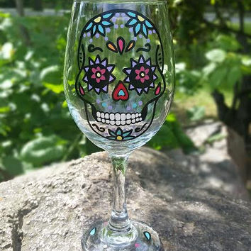 SUGAR SKULL hand-painted wine glass WITH STEM (AQUA FLOWERS)
