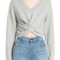 T by Alexander Wang Twist Front Wool & Cashmere Sweater | Nordstrom
