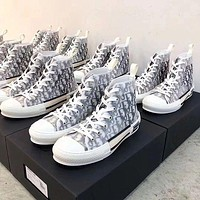 Dior hot sale couple print letters high top casual Shoes sneakers