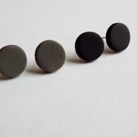 Matte Black Studs and Matte Gray Studs Unisex Earring Set of Post Studs