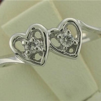 New Genuine Diamond Double Heart Design Promise Ring 14kt White or Yellow Gold Sizes 3 - 10